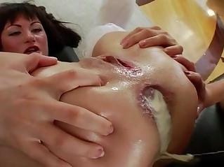 Creamed enema asses rimmed