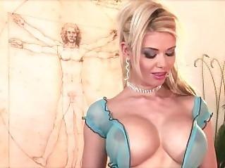 Caylian masturbating wearing blue thigh highs