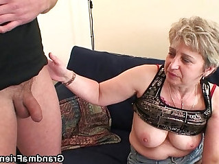 Nasty granny toying before fuck