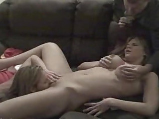 Husband enjoys watching his dirty wife with lesbian