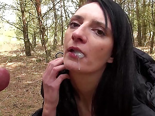 Stepsister fucks brother in the woods in all ways