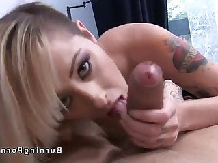 Tattooed amateur blonde sucks huge hard long dick fucks in POV