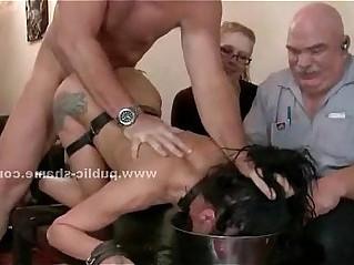 Slut fucked in a bdsm public video