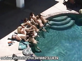 Lesbian orgy by the pool