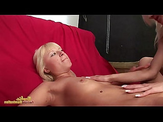 Blonde lesbians strip and has ass eaten and pussy licked