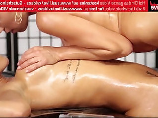 Caro and nickynasty hot lesbian dildo oil massage