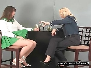 Two cute lesbian babes showing